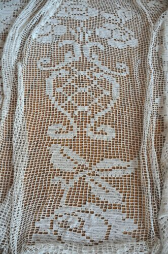 Antique French pure cotton crochet/filet floral bed cover