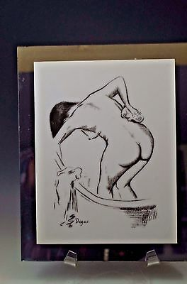 "EDGAR DEGAS ""WOMEN SPONGING BACK MODERN CLASSICS HAND SILK SCREENED 9x7 ART RARE"