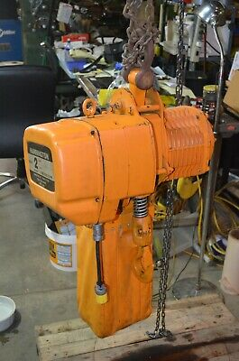 Nice Harrington 2 Ton Electric Chain Hoist Es3b-104 W 26 Ft Of Lift 26 Fpm