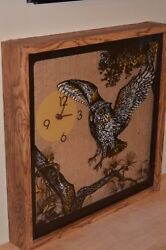 Vintage ELGIN Owl Pine Branch Moon WALL CLOCK  Burlap Retro 70`s cabin brown
