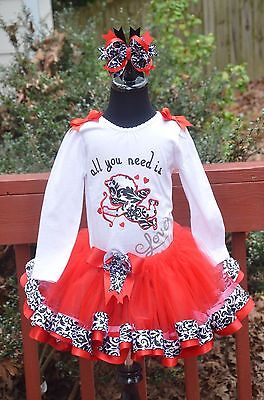 All You need is love Cupid Damask ribbon trim tutu outfit dress set 6m - 4T