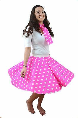 Adults PINK POLKA DOT ROCK AND ROLL 50s SKIRT & SCARF Hen - Rock And Roll Party Kostüm