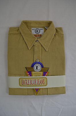 Men Eagle blue jeans  long sleeve denim Khaki 100% Cotton shirt Solid size S-XXL ()