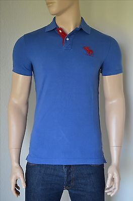 NEW Abercrombie & Fitch Classic Big Icon Polo Shirt Dark Blue Red...