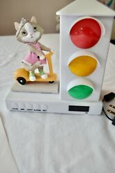 STOPLIGHT SLEEP ENHANCING CLOCK It's About Time kitty cat on scooter girls clock