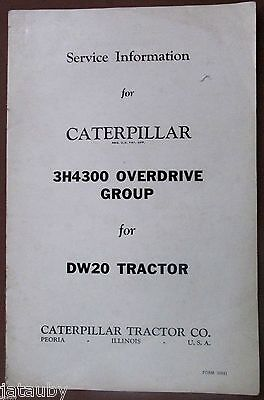 Caterpillar Service Manual Brochure 3h4300 Overdrive Group For Dw20 Tractor