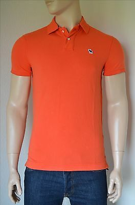 NEW Abercrombie & Fitch Classic Fit Icon Logo Polo Shirt Red Orange...
