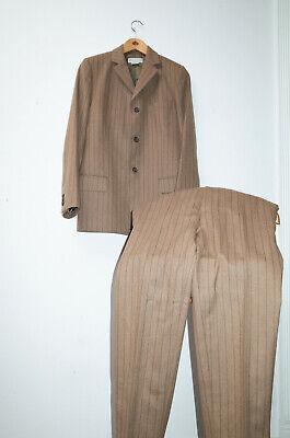 Vintage DRIES VAN NOTEN Men's 3 btn wool suit, brown pinstripe, US Size 36