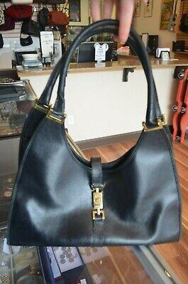Authentic GUCCI Vintage Jackie O Bardot Black Leather Gold Hobo Shoulder Bag