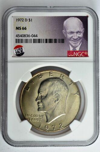 1972 D Eisenhower Dollar $1 NGC MS 66