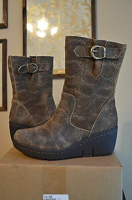 NEW Women Born Uke Mid Calf Brown Leather Boots Wedge Platfo