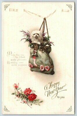 New Year~Shih Tzu Puppy Dog Stuffed in Christmas Stocking~Embossed~IAPC 1914 Stuffed Shih Tzu
