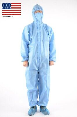 Extra Thick High Quality Protective Coverall Isolation Suit With Hood Usa Stock