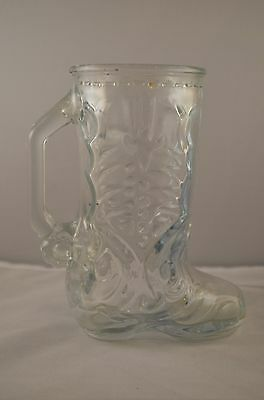 Glass Party Boot Stein  Cowboy  Drinking Beer Mug 6-1/2