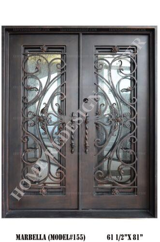 Marbella Wrought Iron Double door Operable Glass in Dark Bronze (In-Stock)