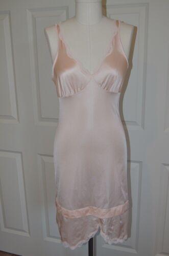 Vintage Champagne Pink Dress Slip Lingerie Lace Trim and Straps Bust 32