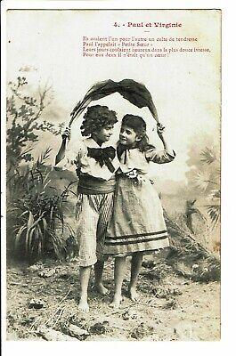 CPA-Carte postale Belgique-Paul et Virginie-Un garçon et une fillette ensemble