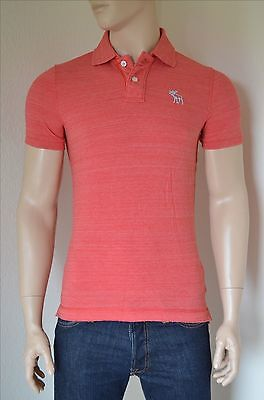 NEW Abercrombie & Fitch Destroyed Classic Cotton Pique Moose Polo Shirt Red...