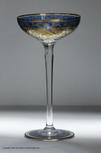 Fritz Heckert polychrome enamelled champagne coupe
