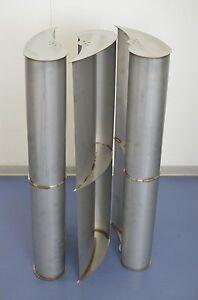 3 Flügel für vertikales Windrad (VAWT) mit C-Profil H=100cm V2A / Edelstahl
