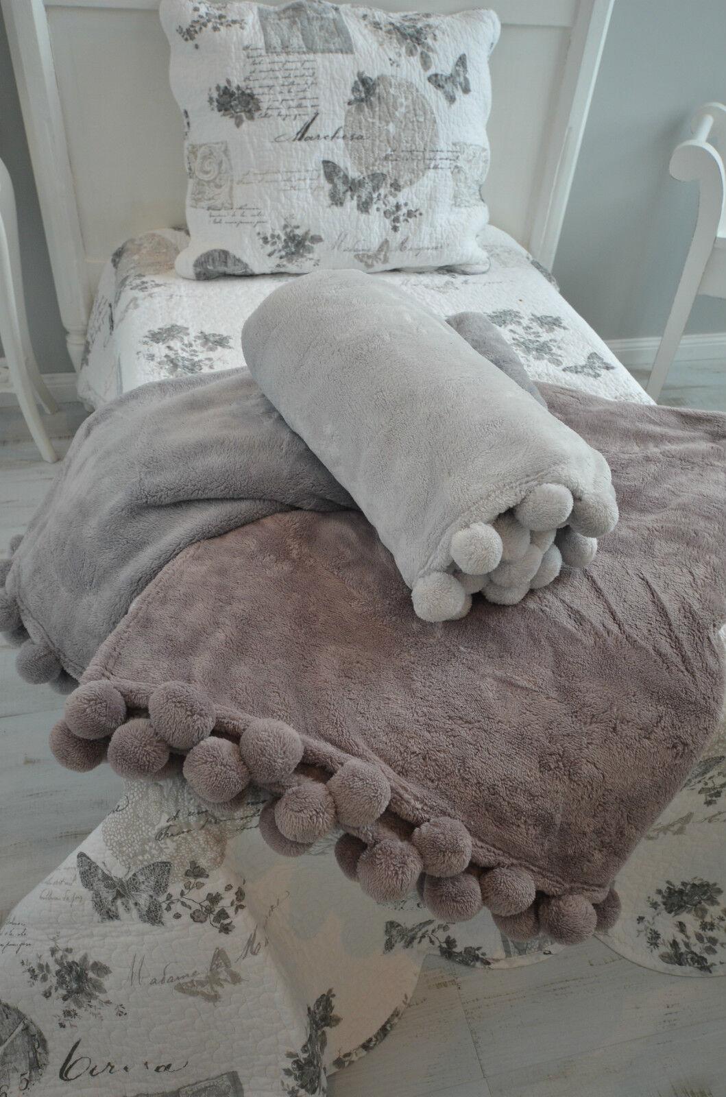 Kuscheldecke Plschdecke Fleece Couch Sofa Decke Versch Farben Landhaus Deko