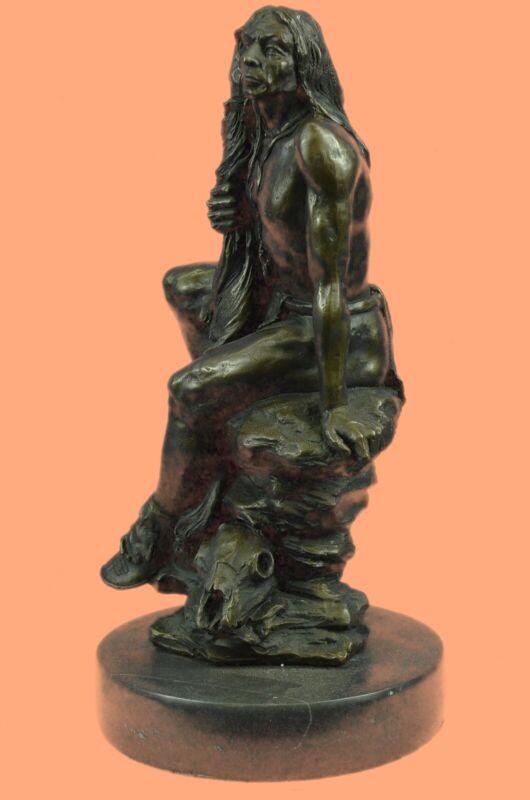 Western Art American Indian Chief Holding Peace Flag Bronze Sculpture Figurine