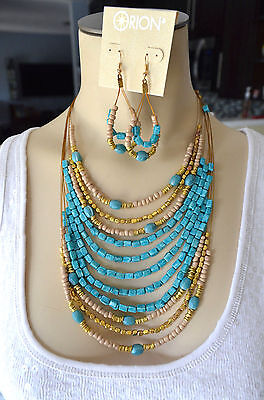 - Multi Strand Turquoise Bone & Gold Tone Bead Wire Necklace Earring Set by ORION