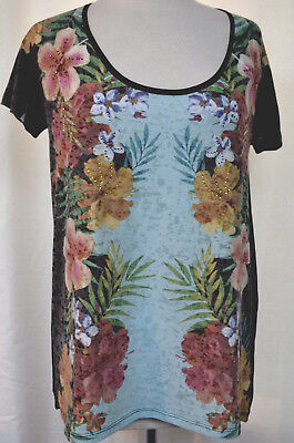 RBX Tropical Floral Studded High Low Mirror Print Short Raglan Knit Top Size M