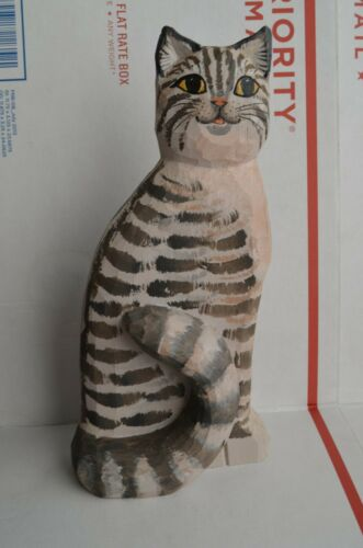 Hand carved wood cat animal painted signed