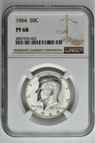 1964 50c Silver Proof Kennedy Half Dollar NGC PF 68