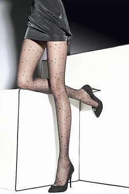 Dotted Tights - FIORE LORNA POLKA DOTS W/ METALICS TIGHTS PANTYHOSE BLACK 3 SIZES