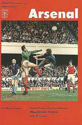 Football Programme - Arsenal v Man United - League Cup - 1977