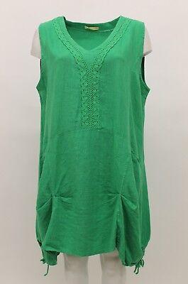 LA BASS WOMEN'S SPRING SUMMER LINEN SLEEVELESS TANK TUNIC GREEN PLUS SIZE 2 for sale  Los Angeles