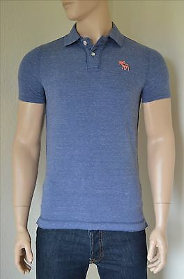 NEW Abercrombie & Fitch Destroyed Classic Cotton Pique Moose Polo Shirt Blue...