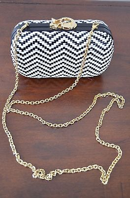 CORTO MOLTEDO Black White Leather Gold Tone Chain Link Shoulder Handbag $1325