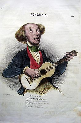 LITHOGRAPH MUSIC  LE GUITTARISTE AMATEUR BY DOUMIER, SERIES MONOMANES 1840