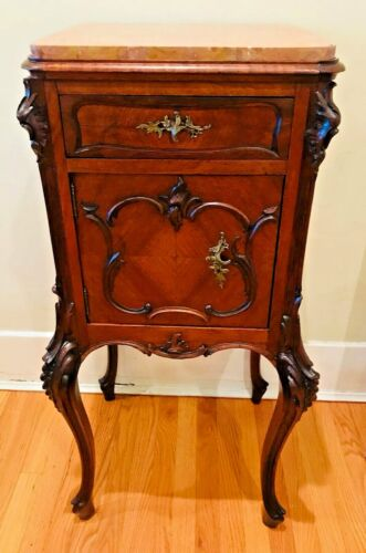 19 C. French Walnut Louis XV Marquetry Inlay Marble Top Nightstand Side Table