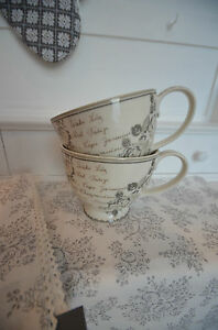 Greengate Becher Teacup Tasse Dora White Landhaus Vintage  Shabby
