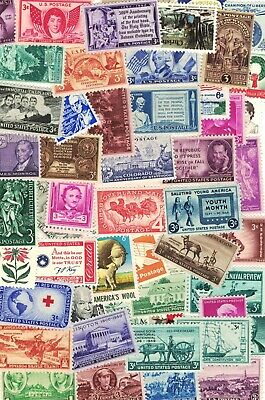 LOT OF 50 VINTAGE ALL DIFFERENT MINT U.S. POSTAGE STAMPS--ALL MINT NEVER HINGED