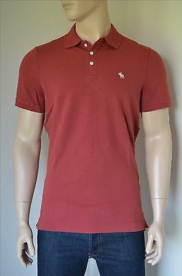 NEW Abercrombie & Fitch Stretch Fit Icon Logo Polo Shirt Red Burgundy...