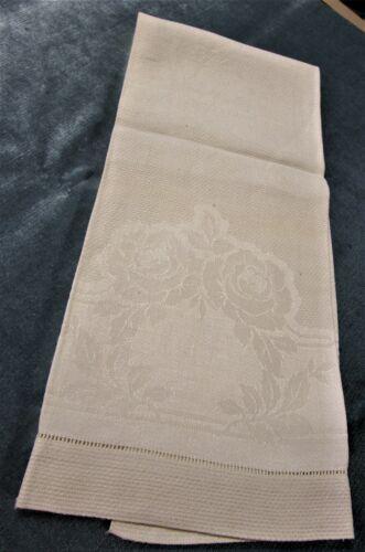 Antique Nubby Linen Damask Towel Rose Flowers & Satin Bands Hemstitched