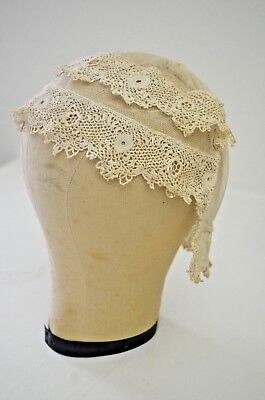 VINTAGE ANTIQUE HAND MADE IRISH CROCHET LACE NIGHT BONNET TT322