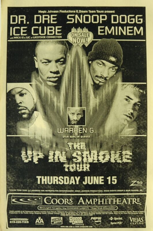 """EMINEM / DR. DRE/ SNOOP DOGG / ICE CUBE """"UP IN SMOKE TOUR"""" 2000 SAN DIEGO POSTER"""