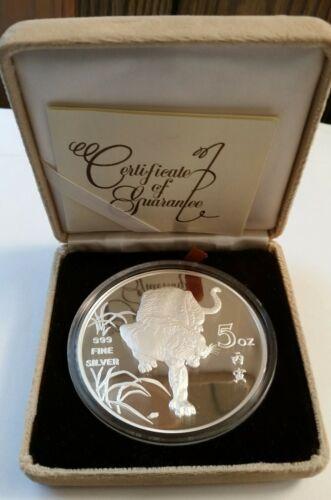 "Singapore 1986 Proof Silver 5 Oz ""Year of the Tiger"" w/Original Box & COA"