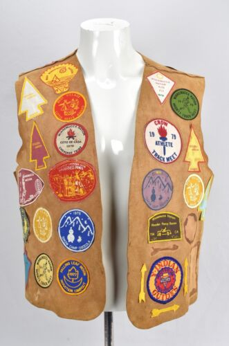 Vintage Indian Guides Suede Leather Vest Lots Of Patches YMCA Camp 1970