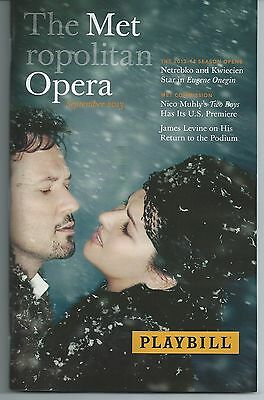 EUGENE ONEGIN Playbill ANNA NETREBKO MET METROPOLITAN OPERA OPENING NIGHT 2013