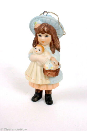 Jan Hagata 1986 Porcelain Girl Christmas Ornament w/ Doll Bunny Basket EVC 8585