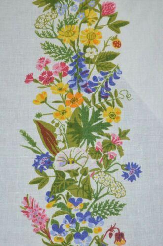 "Vintage Gocken Jobs Linen Print Textile Floral Table Runner 11.5"" x 53.5"" Sweden"