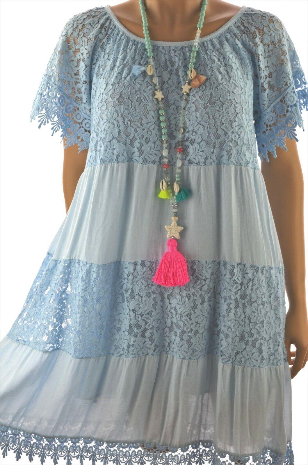 ITALY Sommerkleid Ibiza Kleid mit viel Spitze Stufenkleid Hellblau  A-Linie NEU