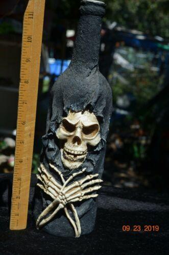 Halloween Candle Holder 12 inch Skull SKeleton Bottle